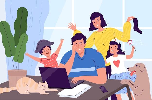 Freelancermens wordt thuis afgeleid van het werk op een laptop.