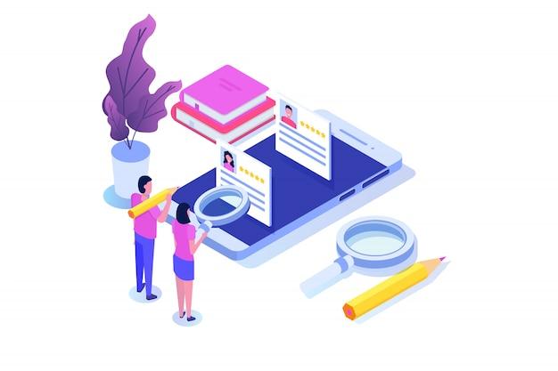 Freelancers isometrische dienstverleningsconcept met tekst plaats. bestemmingspaginasjabloon.