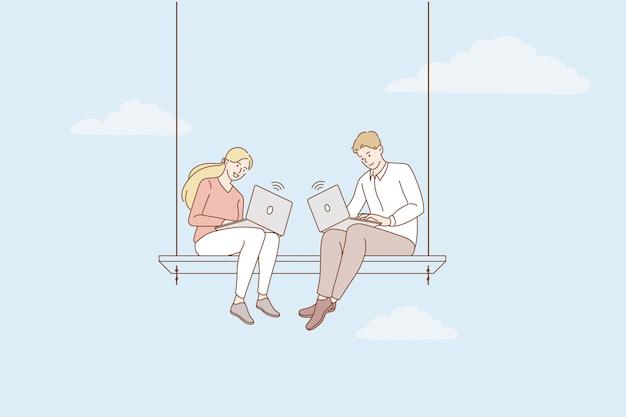 Freelancers werken en werken op afstand concept