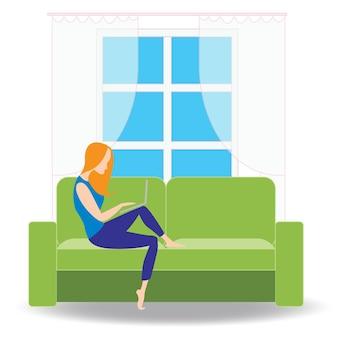 Freelancervrouw met notitieboekje op bank thuis vlakke vectorillustratie