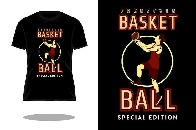 Freestyle basketbal silhouet vintage t-shirt ontwerp