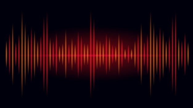 Frequentie in rode en oranje kleur van geluidsgolf op zwarte achtergrond. illustratie over visueel van audio.