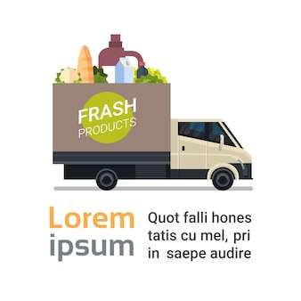 Fresh grocery products bezorgservice met truck deliver food