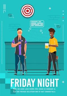 Friday night flyer met ontspannende multiraciale mannen