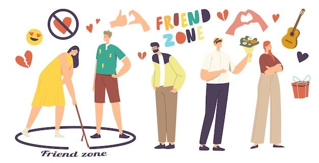 Friend zone-concept. mannelijke personages worden verliefd en proberen meisjes aan te trekken. vrouw tekenen cirkel met man staan binnenkant van grens. vrouwtjes vermijden opdringerige vrijers. cartoon mensen vectorillustratie