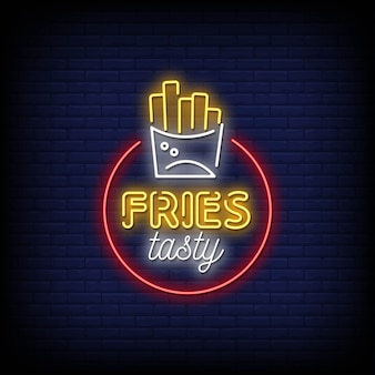 Fries tasty neon signs style text