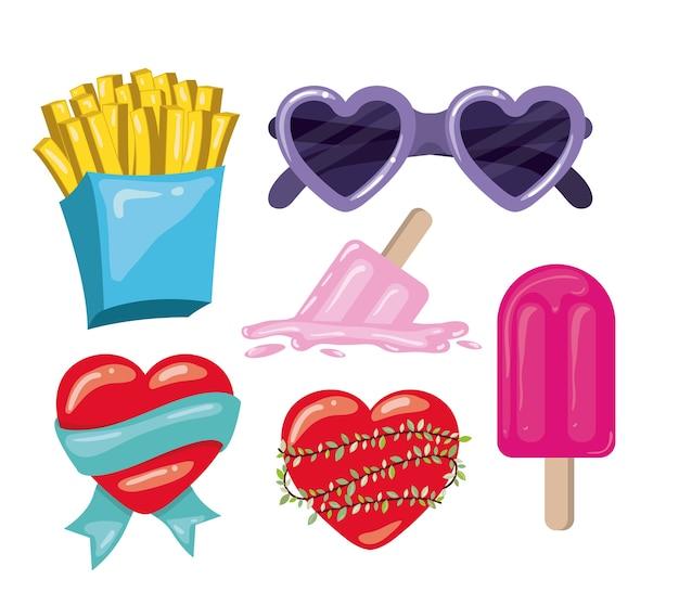 Frieten en glazen en harten en ijslollys