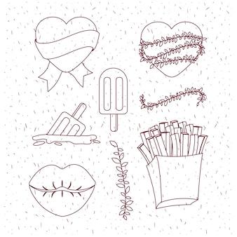 Frieten en lippen en harten en ijslollys