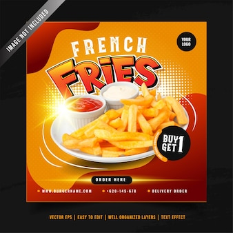 Frieten menu promotie sociale media sjabloon voor spandoek Premium Vector