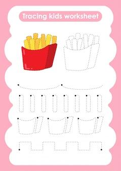 Frieten - traceerlijnen voor het schrijven en tekenen van een werkblad voor kinderen