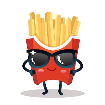Frietjes schattig karakter met een bril