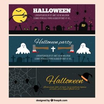 Frightening halloween banners