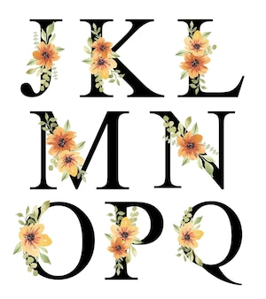 Fris oranje aquarel bloemen alfabet ontwerp jq bewerkbaar