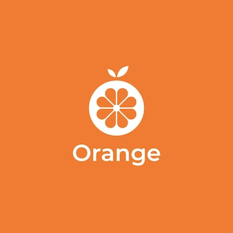 Fris oranje eenvoudig minimaal logo-ontwerp