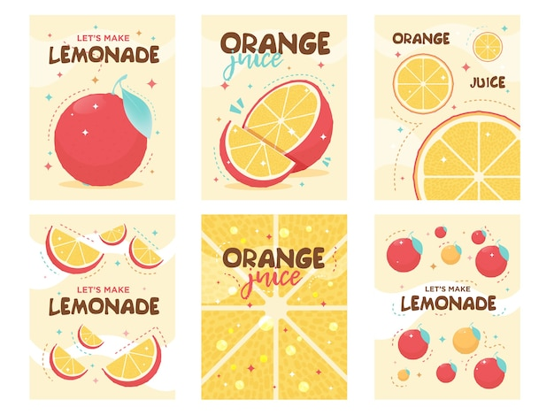 Fris oranje limonade posters ontwerpen. drinken, drinken, café