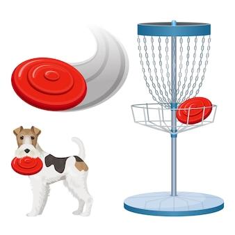 Frisbee game-apparatuur kleurenposter.