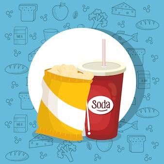 Frisdrank en aardappelen zak
