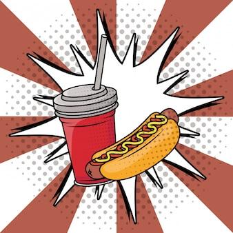 Frisdrank en hotdog fastfood pop-artstijl