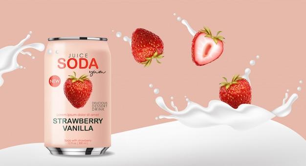 Frisdrank in metalen blikje met aardbeivruchten en plonsmelk, 3d-realistische roze blikjes, zomerdrankje, pakketontwerp
