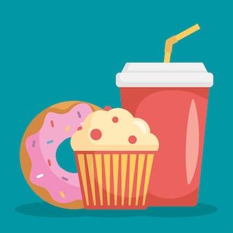 Frisdrank in plastic bakje met cupcake en donut