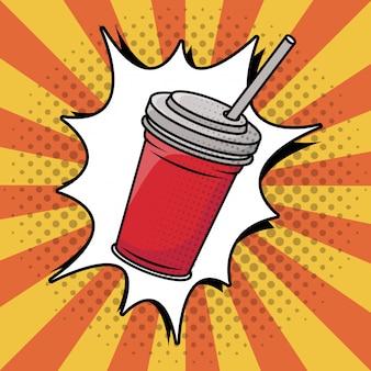 Frisdrank in plastic pot pop-art stijl