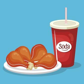 Frisdrank met kippendijen fast food