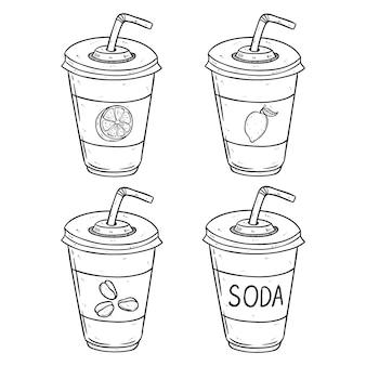Frisdrank papieren beker met citroen-, sinaasappel- en koffiesmaak door handgetekende stijl te gebruiken