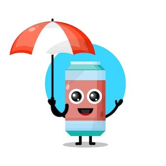 Frisdrank paraplu schattig karakter mascotte