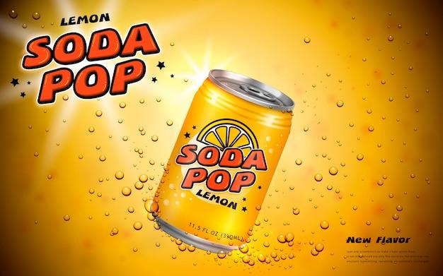 Frisdrank posterontwerp met container en bubbels in gele toon