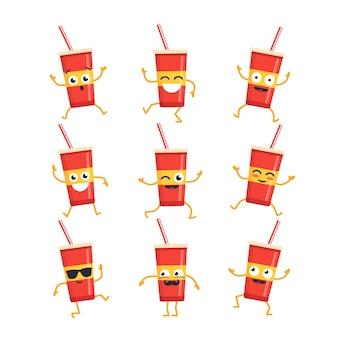 Frisdrank stripfiguur - moderne vector set mascotte illustraties - dansen, glimlachen, plezier hebben. emoticons, emoties, koelte, verrassing, knipperen,