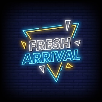 Frisse aankomst neon tekenen stijl tekst
