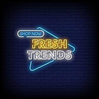 Frisse trends neon tekenen stijl tekst