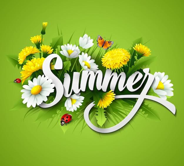 Frisse zomer achtergrond met gras, paardebloemen en madeliefjes