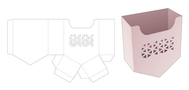Frites bodemhoekcontainer met gestencilde driehoekige gestanste sjabloon