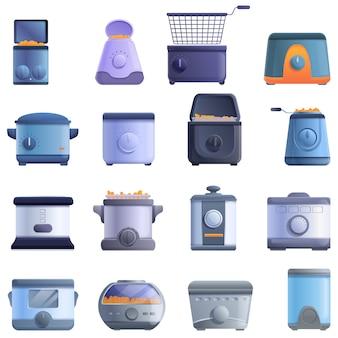 Frituurpan iconen set, cartoon stijl