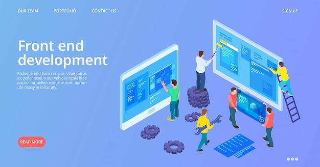 Front-end ontwikkeling. isometrische bestemmingspagina voor interface-ontwikkeling. vector site bouw, web ontwerpsjabloon voor spandoek