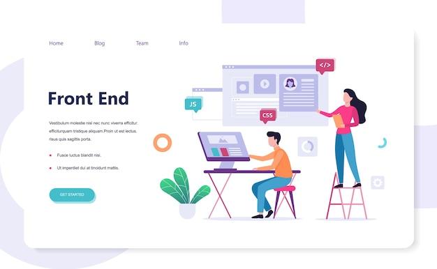 Frontend ontwikkeling web banner concept. verbetering van de website-interface. ontwikkelaar die naar de grafiek kijkt. illustratie