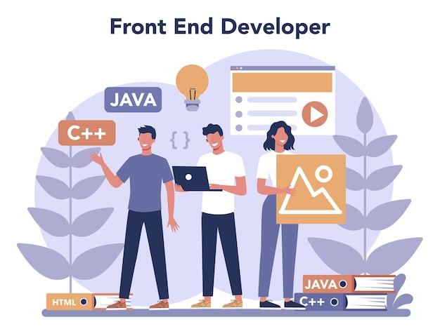 Frontend ontwikkelingsconcept. verbetering van het ontwerp van de website-interface. programmeren en coderen. it-beroep.