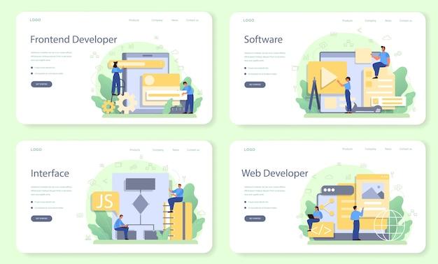 Frontend-webbanner of bestemmingspagina-set voor ontwikkelaars