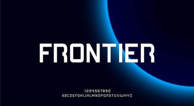 Frontier, een gewaagd abstract futuristisch alfabetlettertype met technologiethema. modern minimalistisch typografieontwerp