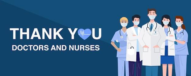 Frontline helden, illustratie van artsen en verpleegsters personages met maskers.