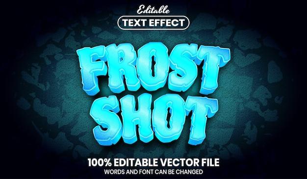 Frost shot-tekst, bewerkbaar teksteffect in lettertypestijl