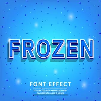 Frozen blue 3d text effect vintage stijlvol in koude kleuren