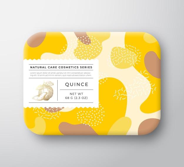 Fruit bad cosmetica doos vector gewikkeld papier container met zorg label deksel verpakking ontwerpmodus...