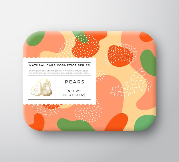 Fruit bad cosmetica doos verpakt papier container met zorgetiket.
