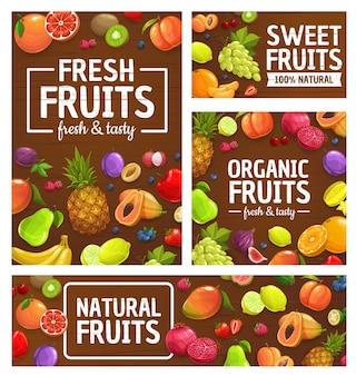 Fruit, bessen, tropische boerenmarkt, tuinvoedsel, ananas, sinaasappel en appels