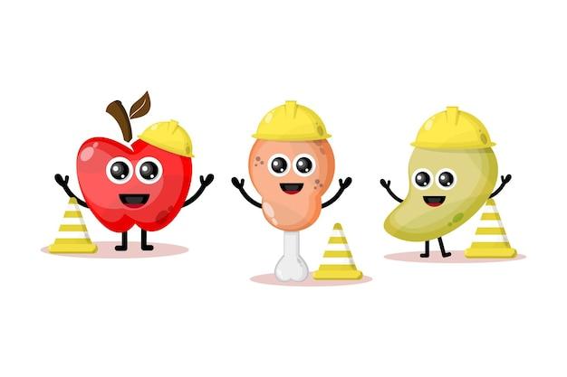 Fruit bouwvakkers schattige karakters