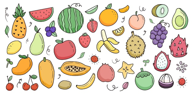 Fruit cartoon grote set collectie