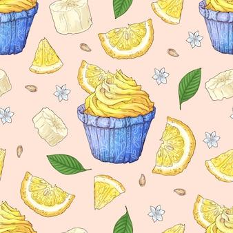 Fruit cupcake naadloze patroon.
