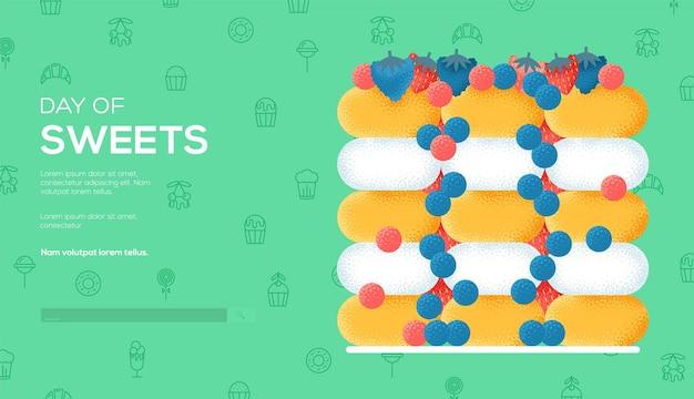 Fruit dessert concept flyer, webbanner, ui header, ga naar de site. korreltextuur en ruiseffect.